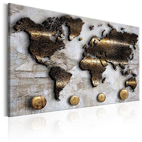 murando Weltkarte Pinnwand & Vlies Leinwand Bild 90x60 cm Bilder mit Kork Rückwand 1 Teilig Kunstdruck Korktafel Korkwand Memoboard Pinboard Wandbilder Karte Kontinente Gold Struktur k-A-0047-p-a