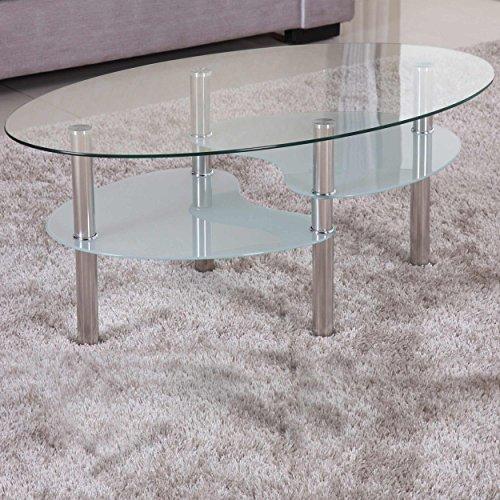 Euro Tische Couchtisch Glas mit 8mm Sicherheitsglas & Facettenschliff - Glastisch perfekt geeignet als Beistelltisch/Wohnzimmertisch (98x58x42cm, Klar/Satiniert)